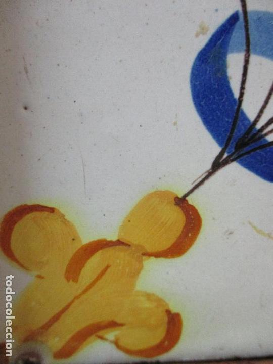 Antigüedades: Antiguo Plafón - 4 Azulejos - Cerámica Catalana Policromada - con Marco - Finales S. XVIII - Foto 5 - 61870056
