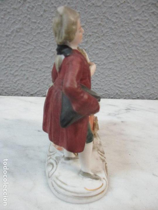 Antigüedades: Bonita Figura Antigua - Isabelina - Porcelana de Biscuit, Policromada - Pareja Romantica - S. XIX - Foto 6 - 61871200