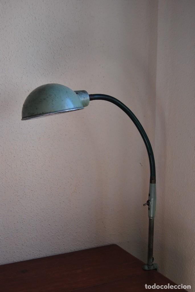 LÁMPARA DE SOBREMESA - LAMPES ADHER - FRANCIA - DISEÑO INDUSTRIAL - AÑOS 40-50 - FLEXO - FOCO (Antigüedades - Iluminación - Lámparas Antiguas)
