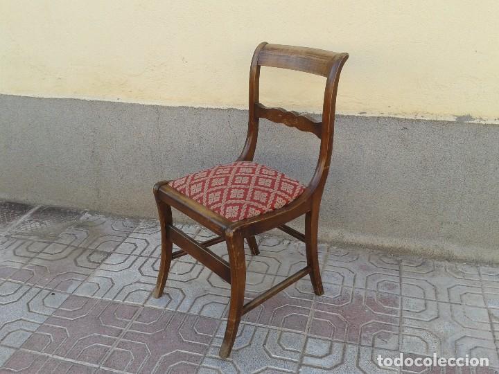 Antigüedades: Silla descalzadora antigua patas de sable estilo regencia. Silla descalzadora antigua retro vintage. - Foto 2 - 61975024