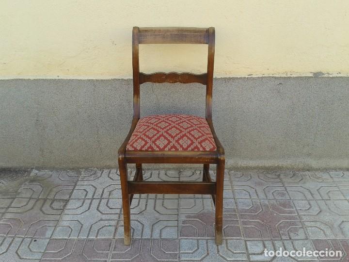 Antigüedades: Silla descalzadora antigua patas de sable estilo regencia. Silla descalzadora antigua retro vintage. - Foto 3 - 61975024