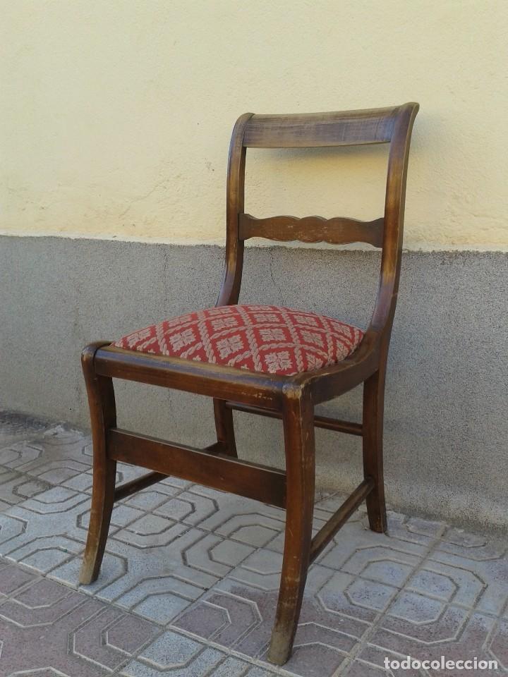 Antigüedades: Silla descalzadora antigua patas de sable estilo regencia. Silla descalzadora antigua retro vintage. - Foto 6 - 61975024