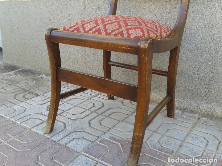 Antigüedades: Silla descalzadora antigua patas de sable estilo regencia. Silla descalzadora antigua retro vintage. - Foto 7 - 61975024