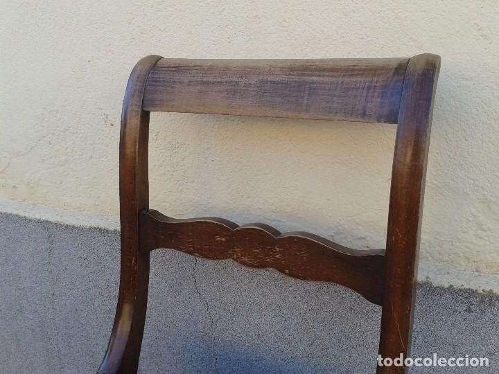 Antigüedades: Silla descalzadora antigua patas de sable estilo regencia. Silla descalzadora antigua retro vintage. - Foto 8 - 61975024
