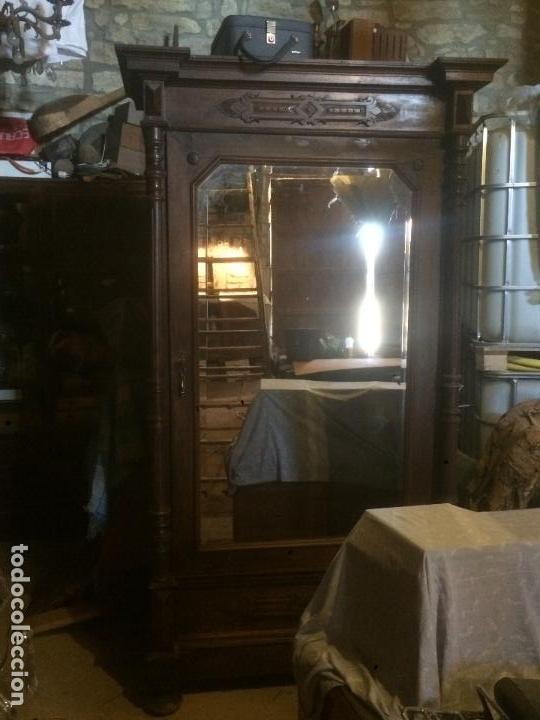 Antigüedades: Antiguo armario Alfonsino con espejo de madera de roble años 10-20 - Foto 2 - 62023272