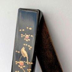 Antigüedades: ANTIGUA CAJA JAPONESA LACADA PARA ABANICO. FINAL SIGLO XIX. Lote 62038456