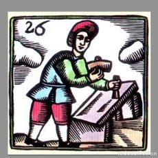 Antigüedades: REPRODUCCIÓN EN AZULEJO 10X10 OFICIO DE LOS CANTEROS. Lote 171541600