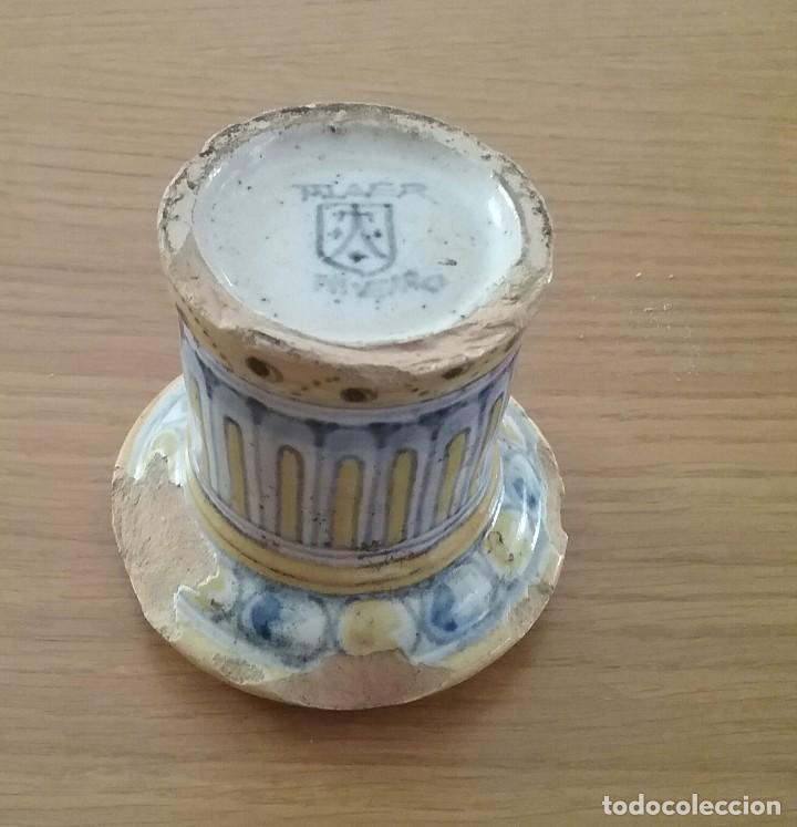 Antigüedades: Alfarería Talavera, salvadera secante, s. XIX-XX, sello Niveiro. - Foto 2 - 62084796