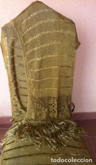Antigüedades: Espectacular Art Deco Antiguo manton hilo seda dorado , principio de siglo .XX - Foto 2 - 62126580