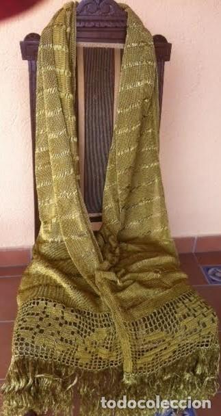 Antigüedades: Espectacular Art Deco Antiguo manton hilo seda dorado , principio de siglo .XX - Foto 3 - 62126580