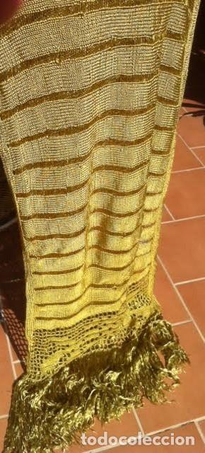 Antigüedades: Espectacular Art Deco Antiguo manton hilo seda dorado , principio de siglo .XX - Foto 4 - 62126580