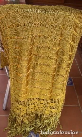 Antigüedades: Espectacular Art Deco Antiguo manton hilo seda dorado , principio de siglo .XX - Foto 5 - 62126580