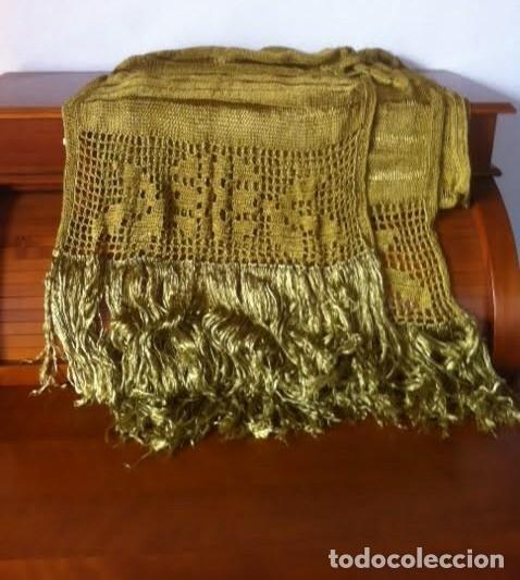 Antigüedades: Espectacular Art Deco Antiguo manton hilo seda dorado , principio de siglo .XX - Foto 6 - 62126580