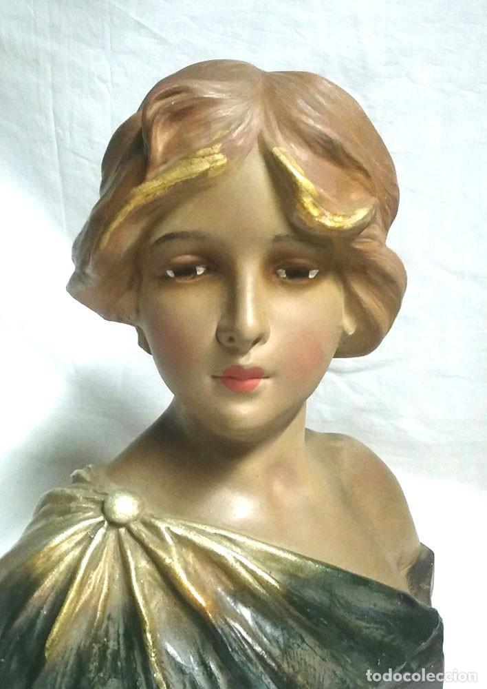 Antigüedades: Busto Mujer Art Nouveau estuco policromado. Med. 25 x 15 x 32 cm - Foto 2 - 62228544