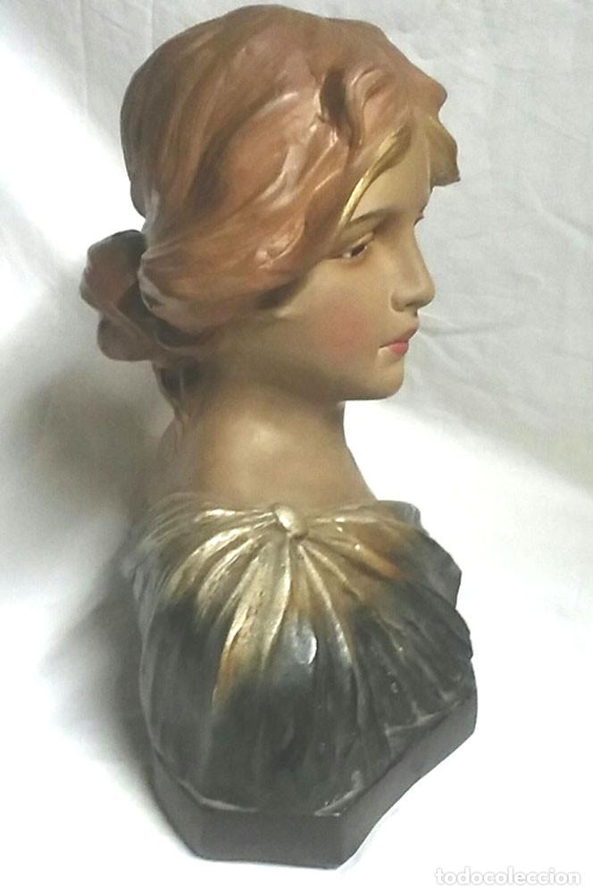 Antigüedades: Busto Mujer Art Nouveau estuco policromado. Med. 25 x 15 x 32 cm - Foto 3 - 62228544