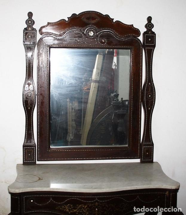 Antigüedades: CONJUNTO DE CONSOLA Y ESPEJO ESTILO ISABELINO EN MADERA DE CHICARANDA. SIGLO XIX. - Foto 2 - 62271428