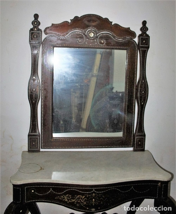 Antigüedades: CONJUNTO DE CONSOLA Y ESPEJO ESTILO ISABELINO EN MADERA DE CHICARANDA. SIGLO XIX. - Foto 4 - 62271428
