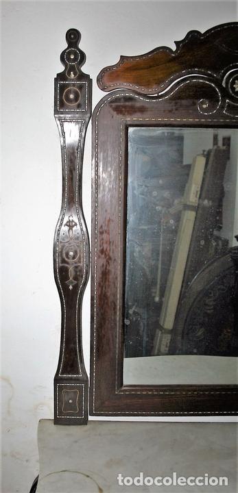 Antigüedades: CONJUNTO DE CONSOLA Y ESPEJO ESTILO ISABELINO EN MADERA DE CHICARANDA. SIGLO XIX. - Foto 5 - 62271428