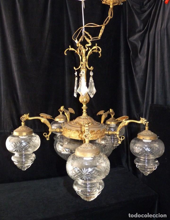 Antigua l mpara modernista de bronce dorado 5 comprar - Venta de lamparas antiguas ...