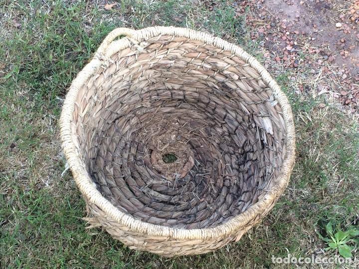 Antigüedades: Caldero antiguo de cobre con funda artesanal. Remachado. Asa en hierro forjado / Olla - Marmita - Foto 5 - 62355720