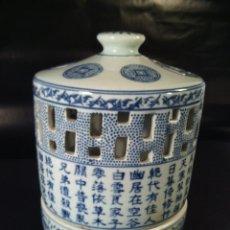 Antigüedades: ANTIGUO INCIENSARIO DE DOS PIEZAS. PINTADO A MANO. CHINA. S.XIX. Lote 62357496