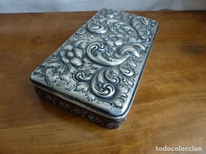 Antigüedades: Caja de plata repujada, contraste Howard & Co - Foto 9 - 62398744