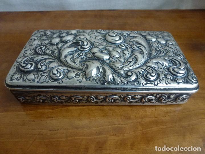 Antigüedades: Caja de plata repujada, contraste Howard & Co - Foto 10 - 62398744
