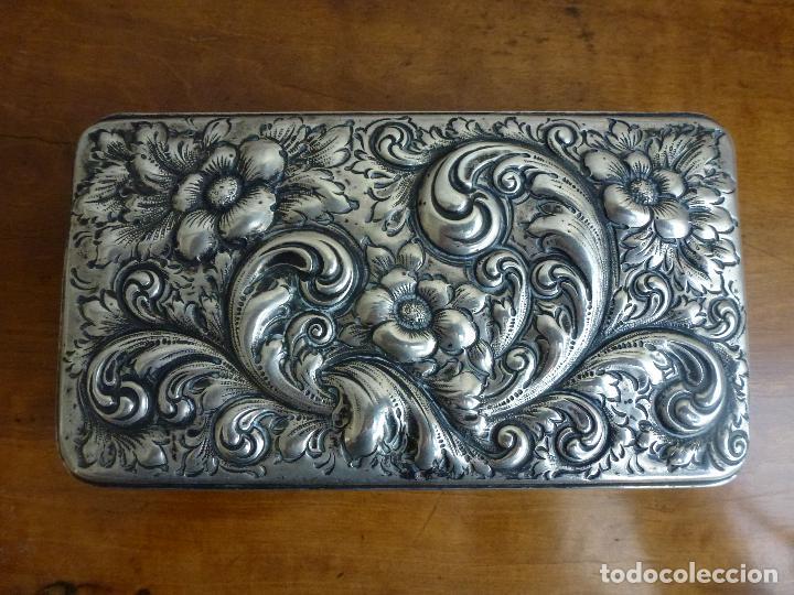 Antigüedades: Caja de plata repujada, contraste Howard & Co - Foto 11 - 62398744