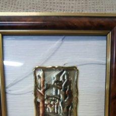 Antigüedades: CREACIÓN ARTÍSTICA EN PLATA 925, CON MARCO DE MADERA, REALIZADO ARTESANALMENTE. 17X20CM. Lote 62406472