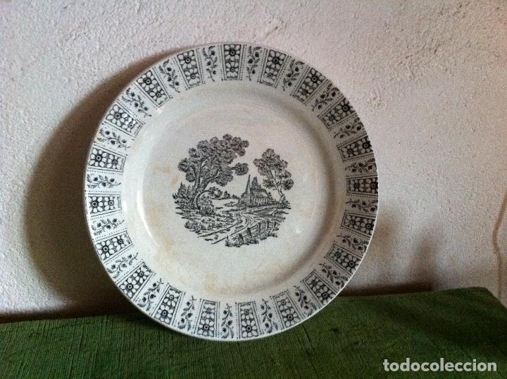 Antigüedades: BONITO PLATO ANTIGUO LLANO DE PICKMAN DE LA CARTUJA DE SEVILLA EN TONO AZUL - Foto 2 - 62435180