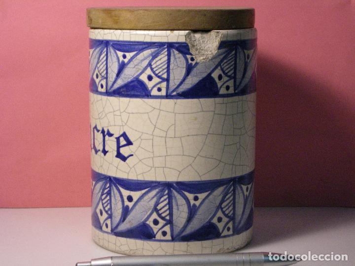 Antigüedades: ANTIGUO TARRO CERÁMICA CATALANA VIDRIADA Y CRAQUEADA CON TAPA DE MADERA - Foto 4 - 62476308