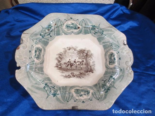 IMPORTANTE FUENTE DE PORCELANA DE FINAL DEL XVIII O P.P. DEL XIX GIBRALTAR (Antigüedades - Porcelanas y Cerámicas - Inglesa, Bristol y Otros)