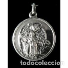 Antigüedades: MEDALLA ANGEL CUSTODIO EN PLATA DE LEY - 23MM. Lote 62538468