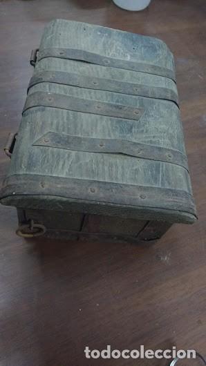 Antigüedades: caja de madera antigua hecha a mano completamente - Foto 3 - 62615684