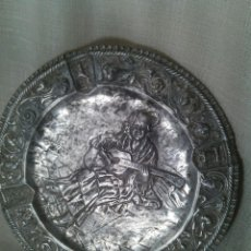 Antigüedades: TONDO EN METAL PLATEADO. SIGLO XIX.. Lote 47394882