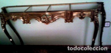 BONITA CONSOLA DE BRONCE Y TAPA DE MARMOL JASPEADO REDONDEADO (Antigüedades - Muebles Antiguos - Consolas Antiguas)