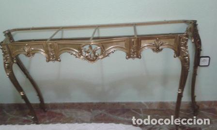Antigüedades: BONITA CONSOLA DE BRONCE Y TAPA DE MARMOL JASPEADO REDONDEADO - Foto 3 - 62657812