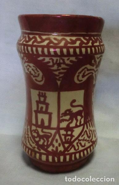 ANTIGUO ALBARELO - TARRO DE FARMACIA DE CERÁMICA DE REFLEJOS METÁLICOS DE MANISES, NUMERADO (Antigüedades - Porcelanas y Cerámicas - Manises)