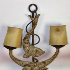 Antigüedades: ANTIGUO APLIQUE DE PARED. CHAPA METALICA. ESPAÑA. SIGLO XX. . Lote 62869516