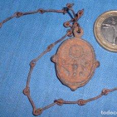 Antigüedades: ANTIGUA MEDALLA CALIZ Y VIRGEN SIGLO XVII CON CADENA. Lote 62908640