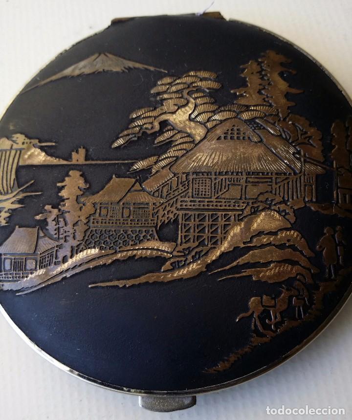 Antigüedades: POLVERA DAMASQUINADO Y PUBLICIDAD DE CERVEZA CARTA BLANCA JAPON - Foto 3 - 62911396
