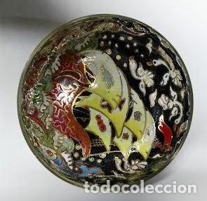 Antigüedades: Cuenco de cristal esmaltado. Royo. Carabela - Foto 2 - 62911836