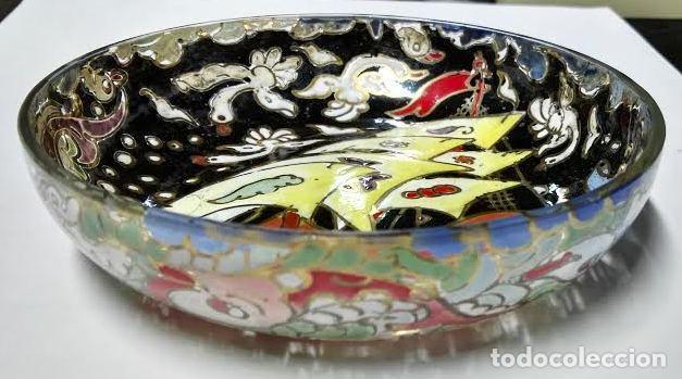 Antigüedades: Cuenco de cristal esmaltado. Royo. Carabela - Foto 3 - 62911836