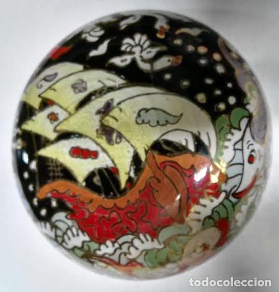 Antigüedades: Cuenco de cristal esmaltado. Royo. Carabela - Foto 4 - 62911836