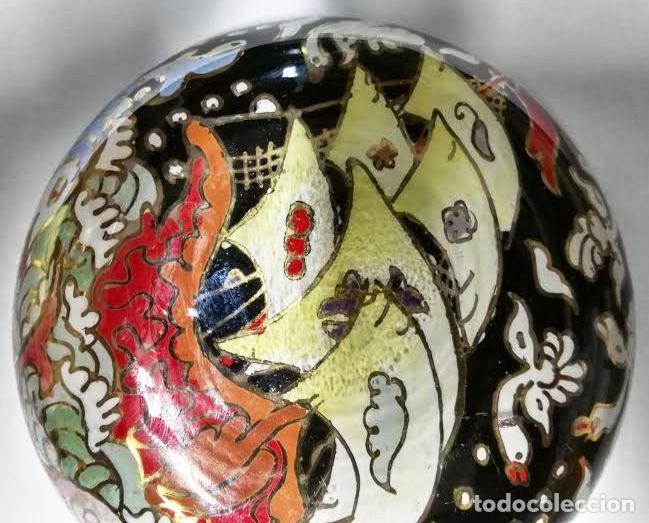 Antigüedades: Cuenco de cristal esmaltado. Royo. Carabela - Foto 5 - 62911836