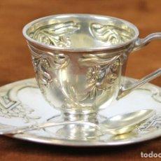 Antigüedades: SERVICIO DE CAFE. METAL PLATEADO. ESTILO ART NOUVEAU. SIGLO XX. . Lote 62946616
