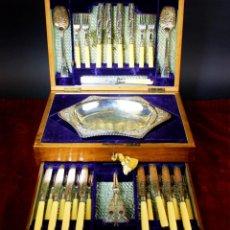Antigüedades: SET DE CUBIERTOS DE VIAJE. PLATA SHEFFIELD. F. GREEN SONS. INGLATERRA CIRCA 1894. Lote 63093280