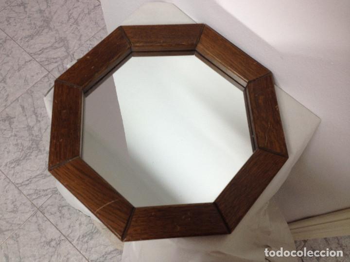 espejo octogonal con marco en madera de roble.m - Comprar Marcos ...