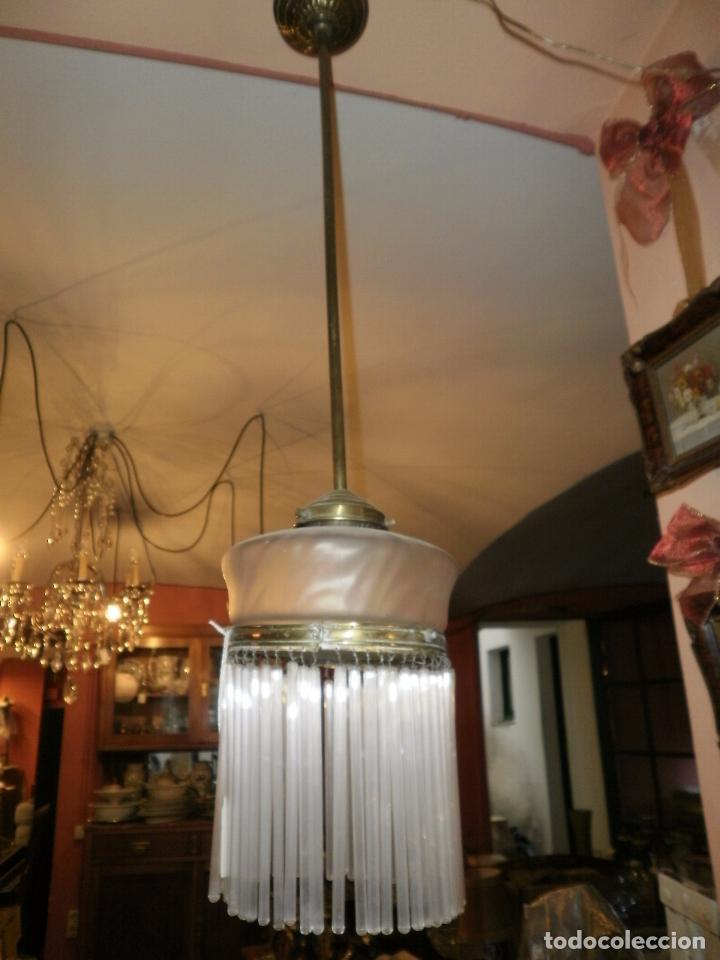 LAMPARA DE CANUTILLOS Y LATON DE PRINCIPIOS DE SIGLO XX. (Antigüedades - Iluminación - Lámparas Antiguas)