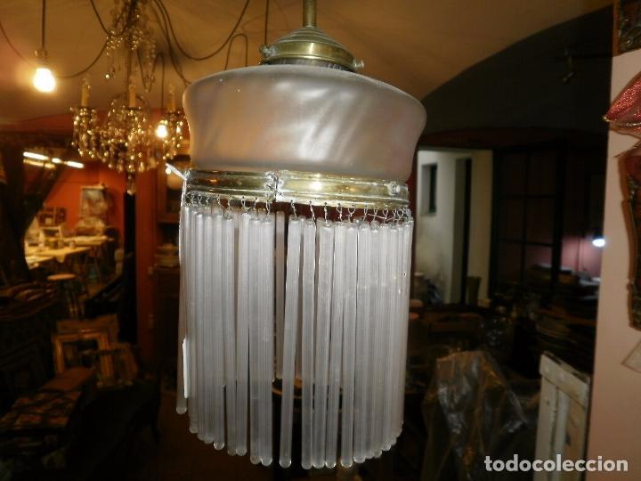 Antigüedades: LAMPARA DE CANUTILLOS Y LATON DE PRINCIPIOS DE SIGLO XX. - Foto 2 - 63246140